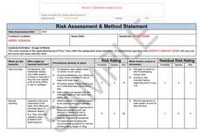 risk statement template risk assessment method statement for floor tiling seguro