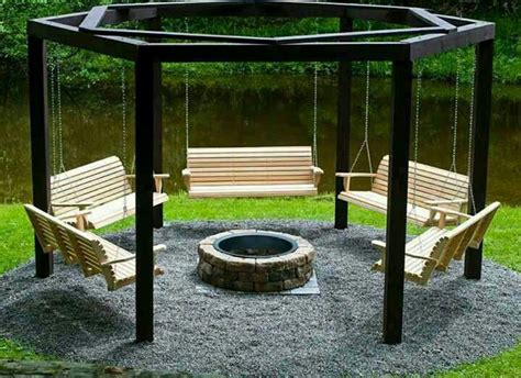 Fire Pit And Hanging Swings Add Glass Gemstones For Color Swings Around Firepit