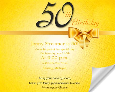 invitation wordings for year birthday 50th birthday invitation wording sles wordings and messages