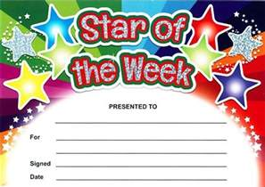 star of the week rainbow certificates sparkling