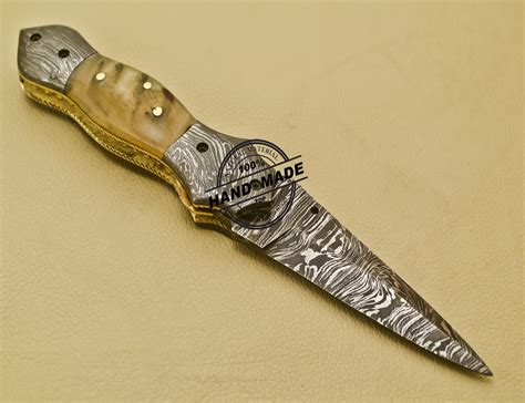 Handmade Steel - damascus folding knife custom handmade damascus steel