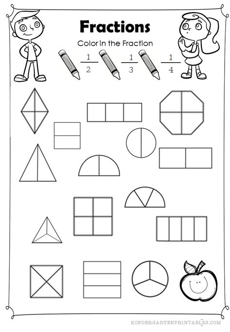 fraction coloring sheets basic coloring worksheet to identify fractions related