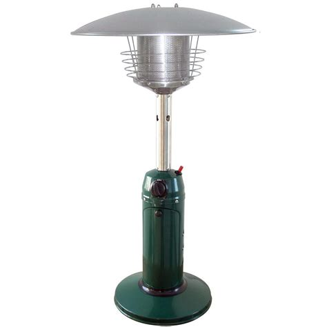 Patio Heaters Garden Radiance 11 000 Btu Green Tabletop Propane Gas Patio Heater Gs3000gn The Home Depot