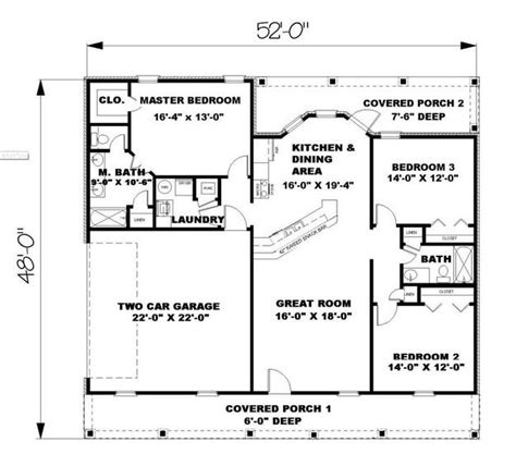 ranch plan 1 500 square 3 bedrooms 2 bathrooms
