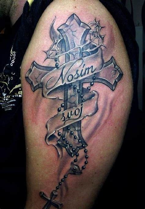 cross tattoos on upper arm cross with scripture arm tattooed
