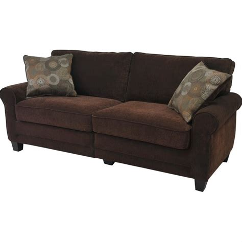 serta furniture sofa serta trinidad deluxe sofa in chocolate fabric cr43540pb