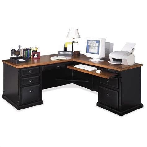 L Shaped Executive Desks Kathy Ireland Home By Martin Southton Rhf L Shaped Executive Desk In Oynx Black So684r