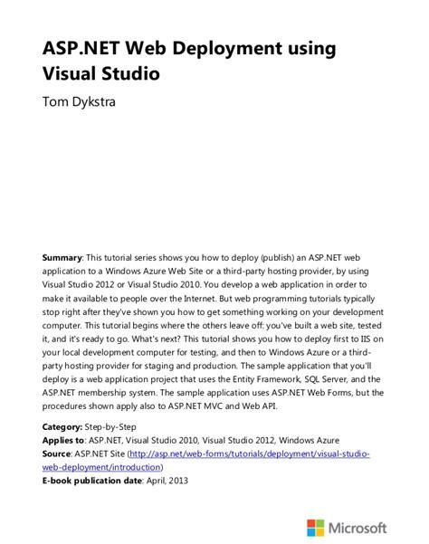 web api tutorial visual studio 2012 aspnet web deployment using visual studio