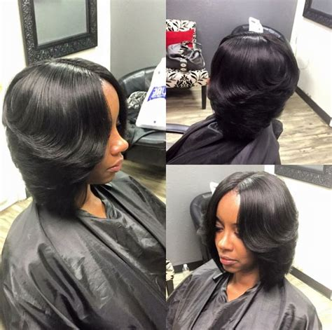 pics of bump feather sew in best 25 middle part bob ideas on pinterest bob with