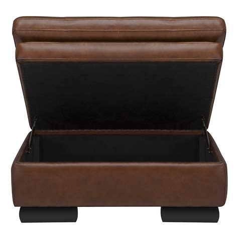 brown leather ottoman storage trevor md brown leather storage ottoman