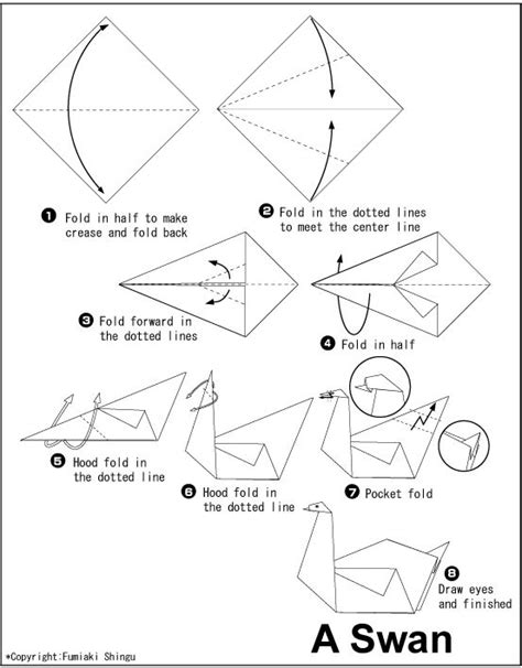 Origami Swan Diagram - origami swan this would make a beautiful mobile