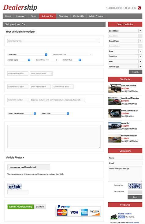 wordpress layout per page wordpress car dealer theme pay per post paypal integration