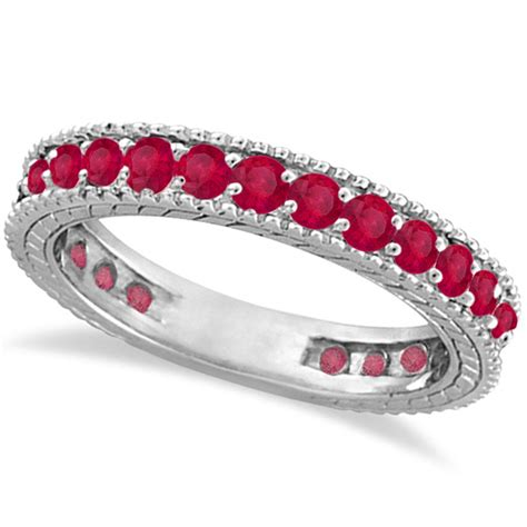 Ruby 4 75 Ct ruby eternity ring anniversary ring band 14k white gold 1