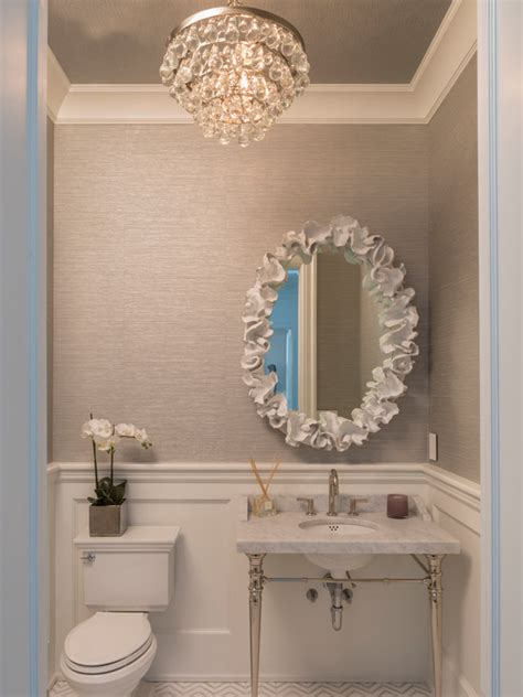 grey wallpaper powder room contemporary bathroom