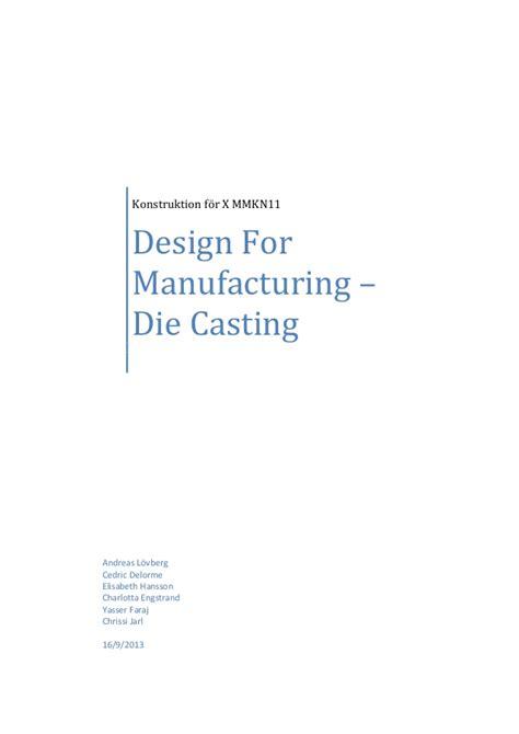 design for manufacturing slideshare die casting