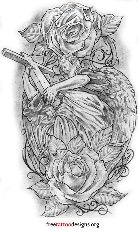 angel and rose tattoo cross and roses