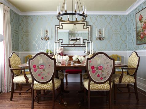 wallpaper in dining room furniture great crystal chandelier over long square