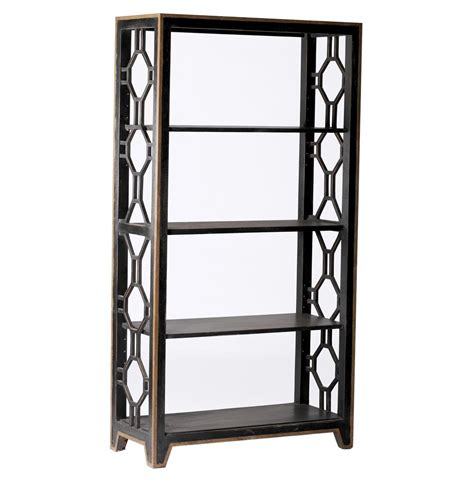 david gilded metal gold geometric bookshelf kathy kuo home