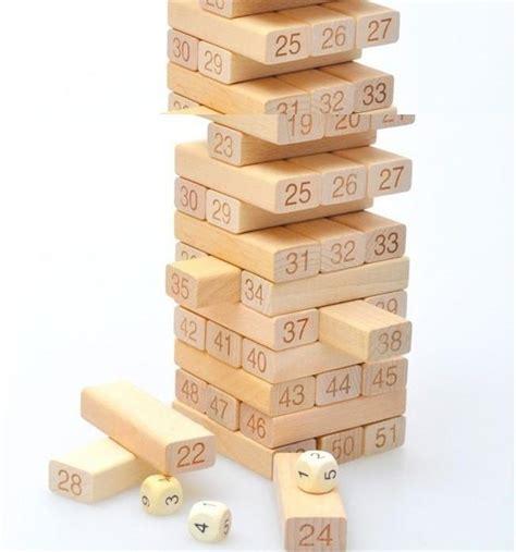 Wooden Blocks Balok Kayu Warna Mix 54 pcs lucu kecil belajar pendidikan bahan kayu jenga mainan blok untuk keluarga di mainan