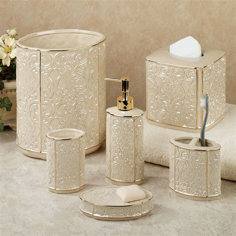 Furla Cream Damask Ceramic Bath Accessories Damask Bathroom Accessories