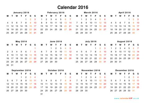 2016 printable calendar by year calendar template 2016
