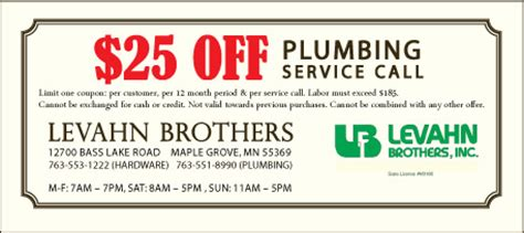 Plumb Discount Code by Coupons For Plumbing And Hardware Levahn Bros