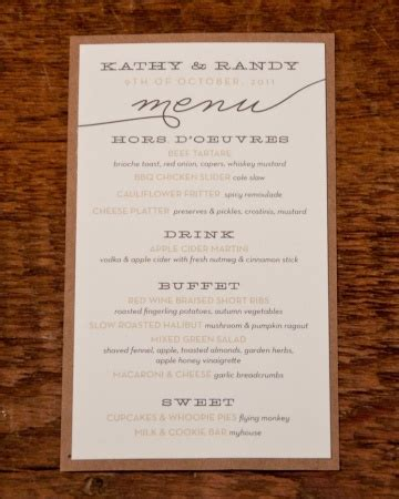 Rustic Menu Card Private Events Business Pinterest Buffet Menu Cards