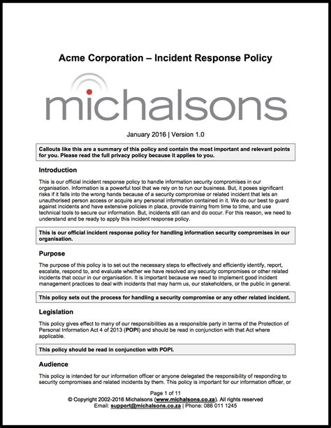 Incident Response Policy Michalsons Incident Response Policy Template