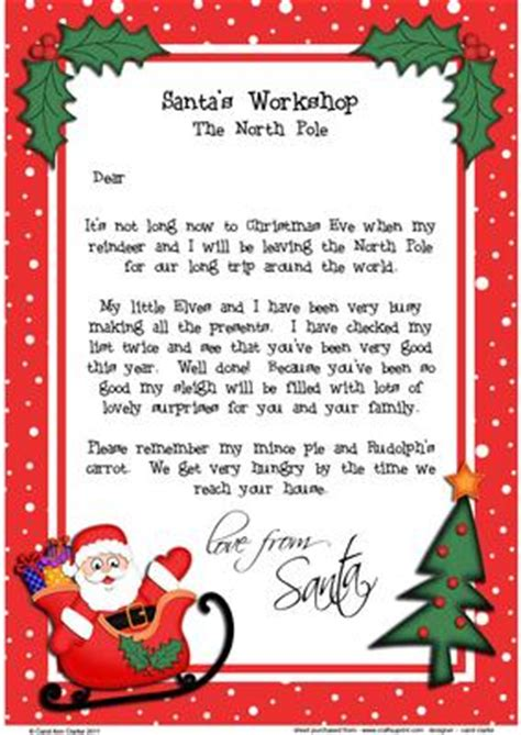 printable christmas list a4 christmas santa a4 child s letter from santa cup375487