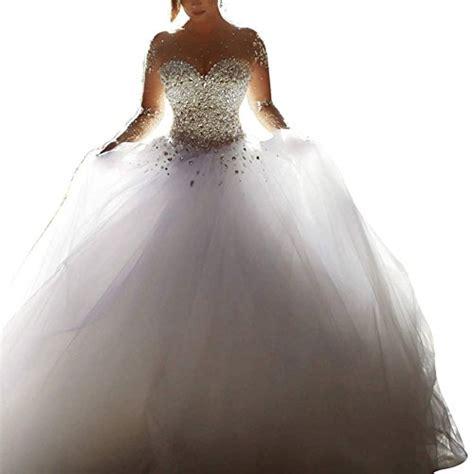 Brautkleid ärmel by Topquality2016 Damen Kristall Perlen Prinzessin Lange