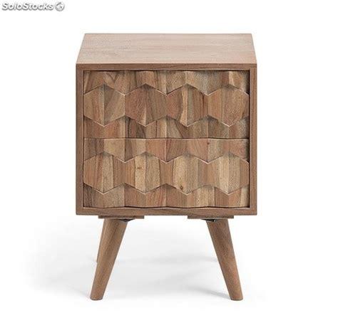 mesita de noche tallada mesita de noche madera acacia natural tallada