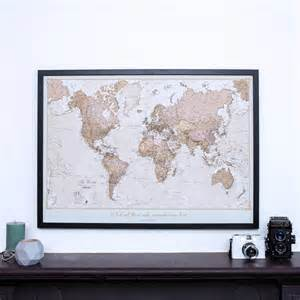 framed maps personalised antique world map by maps international