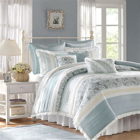 pretty white comforters beautiful chic cottage cozy blue green white ruffled duvet