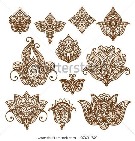 henna design lotus ornamental flowers abstract floral elements in indian