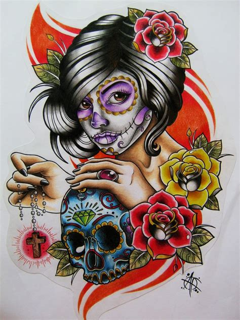 day of the dead woman tattoo designs day of the dead design by frosttattoo on deviantart
