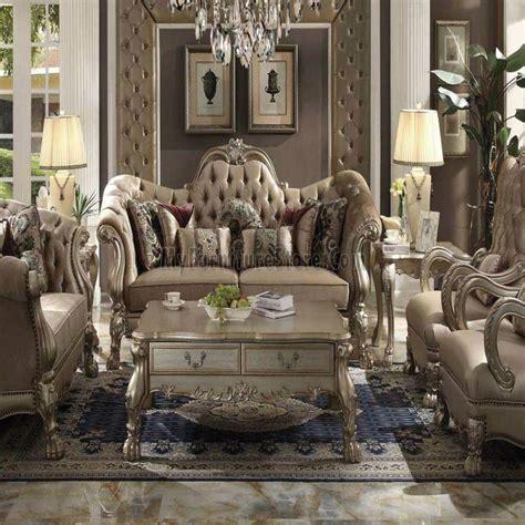 Dresden Bone Velvet Gold Patina Living Room Set By Acme Acme Living Room Furniture