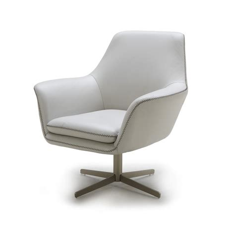 Midcentury Desk Chair by Poli Grey Modern Leather Swivel Lounge Chair