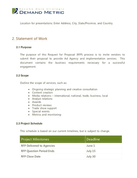 agency template advertising agency rfp template