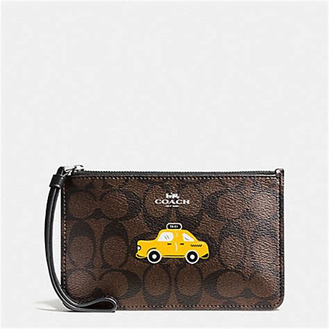 Coach F54057 Brown Black Wrislet nyc taxi small wristlet in signature f57710 silver brown black coach accessories