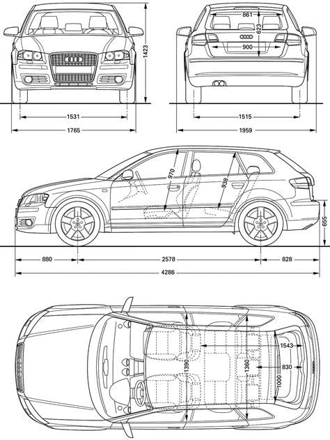 2008 Audi A3 (Typ 8P) Hatchback v2 blueprints free - Outlines