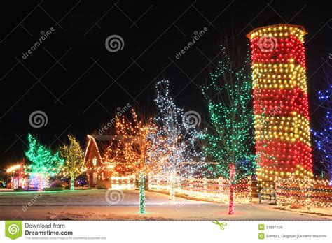 chatfield botanic gardens christmas lights on the farm stock photo image of silo colors 31697150