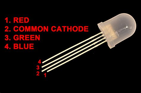 lade rgb led rgb diffused 10mm common cathode 4 leds