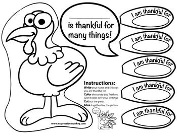 i am thankful for template prek card free thankful turkey feathers free educational