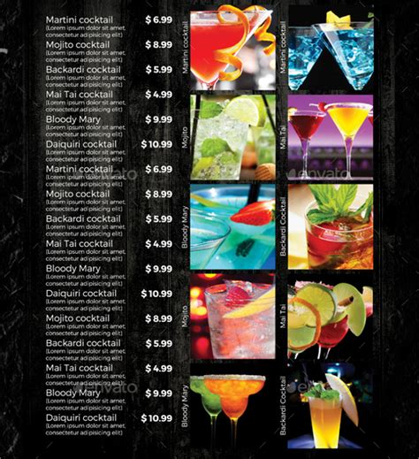 cocktail list template sle drink menu template 20 documents in psd