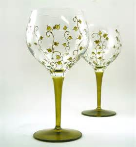 Painted Wine Glasses Painted Glasses Set Of 2 Blown By Butterflyrougestudio