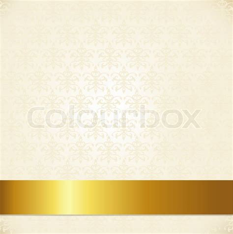 Bow Curtains Beige Damask Background With Gold Ribbon Vector