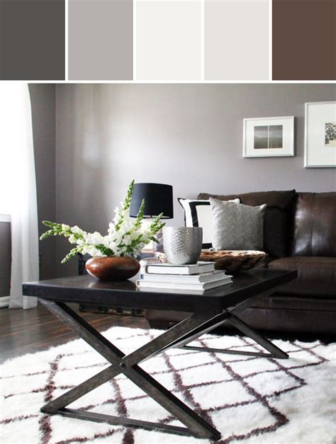 decorating with gray and brown combination combo of brown sofa grey wall modern rustic living room designed by allmodern via stylyze