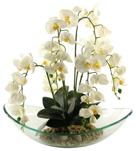 Touch Free Kitchen Faucets d amp w silks d amp w silks cream phael orchids in large glass