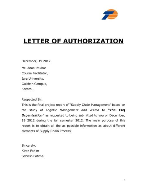 authorization letter for key collection report taq cargo