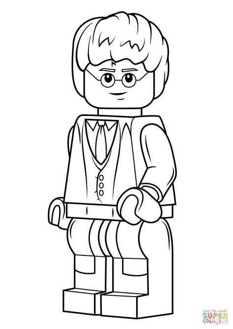 Lego Minifigure Coloring Pages Lego Harry Potter Coloring Page Free Printable Coloring by Lego Minifigure Coloring Pages